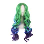Rise World Wig Womens 70cm Long Two Tone Wig Wavy Cosplay Green Blue Purple
