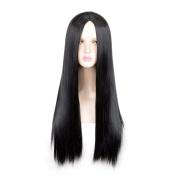 SiYi Anime Overwatch Symmetra 70cm Long Straight Black Halloween Party Wigs