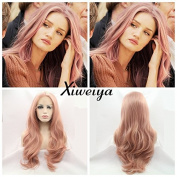 peach red Wigs For Women Rosie Whiteley Hairstyle Rose Gold Pastel Pink Wig Girls Synthetic Lace Front Wig With Heat Resistant .