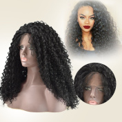 Dingli Hair Deep Curly Heat Resistant Fibre Synthetic Lace Front Wig with Baby Hair for Black Women Wigs 150% Heavy Density 50cm #1B