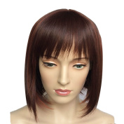 Namecute Short BOB Wig Deep Brown Highlight Auburn Wigs for Women Heat Resistant Synthetic Fringe+ Free Wig Cap