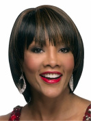 Short Straight Wigs Highligths Brown Black Bob Wigs for Women Natural Heat Resistant Synthetic Hair Wigs 25cm