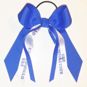 Gymnastics Hair Bow, Many Colours Avail, Made in the USA, USA Gymnastics, Blue Ink, Black Pony Band