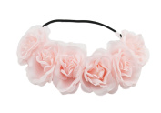Merroyal Rose Flower Wreath Headband Floral Crown Garland Halo for Wedding Party