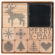 Rico Design Stamp Set Christmas Cross Stitch, Wood, Nature