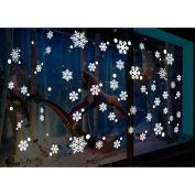 FENICAL 48pcs Snowflake Window Clings Glueless PVC Wall Stickers for Window Glasses Christmas Window Decorations