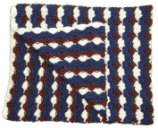 Handmade Crochet Baby Blanket Blue Brown and Cream 70cm x 100cm
