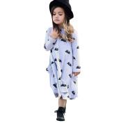 Diamondo Little Girls' Cute Long Sleeve Mouse Dotted Cotton Princess Dress