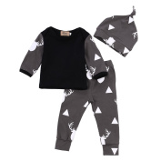 Diamondo Newborn Baby Girl Boy Clothes Deer Tops T-shirt+Pants Leggings Hat Outfits