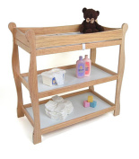 Natural Changing Table, Baby Furniture, Dimensions 37.5x19x37.5, Includes Changing Pad, Includes Shelves, Includes A Changing Pad And Safety Strap