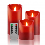 """Set of 3 LED Flameless Candle 4""""5""""6"""" Burgundy Colour Dripless Real Wax Pillars Include Realistic Dancing LED Flames and 10-key Remote Control with 24-hour Timer Function"""