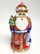 Wooden Hand Carved Painted Russian Santa Claus Figurine 13cm
