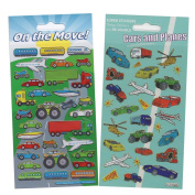 Cars and Planes, On the Move Sparkle Stickers. 2 Pack Set. Quality Repositionable Kids Stickers