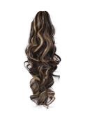 ELEGANT HAIR 60cm PONYTAIL Clip in Hair Extensions Piece WAVY Dark Brown/Blonde Mix #4/613 REVERSIBLE 250g