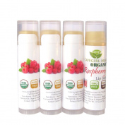 4-Pack Certified USDA Organic Lip Balm. CAVEGIRL MINE - Organic Raspberry Flavour. Made in USA. Paraben Free. GMO Free. Everyday use. Gluten Free. Deeply Moisturises & Softens Chapped Dry Lips.