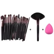 Fullkang 20pcs Makeup Brush Makeup Sponge Makeup Foundation Brush + 1pc Large Fan Brush + 1pc Sponge