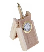 Wooden Watch cum 1 Pen Stand, Perfect for Office n Home Desk,fountain pen holder wood, Thanks Giving or Christmas Gift