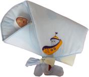 BlueberryShop Premium Swaddle Wrap Blanket Duvet for Newborn Baby 100% Cotton Embroidered ( 0-3m ) ( 78 x 78 cm ) Blue Boat
