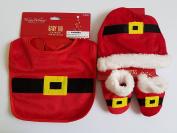 Baby Santa Hat, Bib and Booties Set