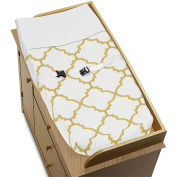 White and Gold Trellis Print Lattice Baby Changing Pad Cover