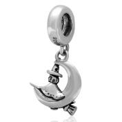 Witch Charm 925 Sterling Silver Broom Charm Halloween Charm Dangle Charm Moon Charm for Pandora Bracelet