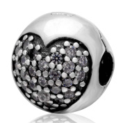 Clip Stopper Charm With Crystal Charm 925 Sterling Silver Round Charm Heart Charm Lock Charm Spacer Charm for Pandora