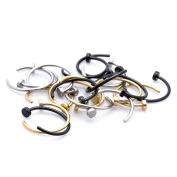 18 PCS 20 Gauge 316L Stainless Steel Unisex Nose Hoop Rings Nose Studs Bars Body Jewellery Piercing