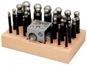 Deluxe 24-Pc Punches Dapping Set with Wood Stand 2x2x2 Steel Doming Block