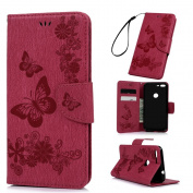 Badalink Google Pixel XL Wallet Flip Stand Case (14cm ) Embossed Butterflies PU Leather Case with Shockproof TPU Inner Bumper Slim Protective Card Slots Cover for Google Pixel XL - Hot Pink