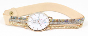 Lucoo Fashion comfortable Luxury Christmas gift Watch Wind Chimes Diamond Leather Bracelet Lady Womans Wrist Watch