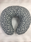 Soft Nursing Pregnancy Pillow/Cushion/Wedge - GREY WITH WHITE SHEEP - WITH QUILTED COVER & EXTRA PADDING