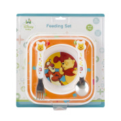 Disney Baby Winnie the Pooh Feeding Gift Set - Plate Bowl Stainless Steel Cutlery
