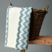 Kids Baby Blanket Chevron Grey and Mint