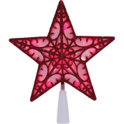 Red LED Glitter Star Christmas Holiday Tree Topper