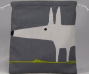 Scion Mr Fox Fabric. Charcoal/Lime Drawstring Waterproof Lined Wash Bag, Cosmetic Bag