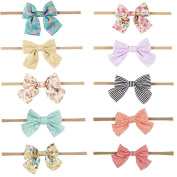 10pcs/lot Great Elastic Artificial Leather Bow Nylon Headband Synthetic Leather Bow Knot Baby Elastic Head Band