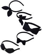 LiveZone 5-Style(5-Pcs) Lady Women Girls Elegent Bowknot Hair Head Accessories Ornament Boutique Woollen Bow Hair Band/Head Hoop Beautiful Lovely Head Band Wear Headband Headdress Headwrap,Black
