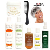Etae Natural Products E'tae Carmelux Shampoo, Conditioner, Gloss, Carmel Treatment, Buttershine, Nutrient Replenisher Combo Kit (6 items) / Free Shower Cap Free Comb