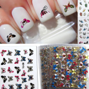 Buytra 24 Sheets Colourful 3D Butterfly Nail Art Transfer Stickers Manicure Tips Decals Wraps Decoration for Women Girls