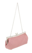 Scheilan Rose Fabric Weave Knot Clutch/Shoulder Bag