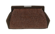 Scheilan Brown Fabric Double Sided Crystal Panelled Clutch/Shoulder Bag