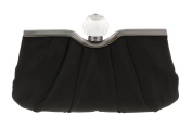 Scheilan Black Satin Ruched Knob Clutch