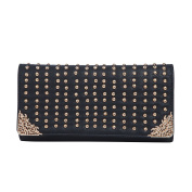 Premium Large PU Leather Studded Front Flap Clutch Bag Handbag - Diff Colours