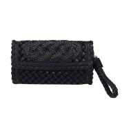 Premium PU Leather Solid & Snake Print Interlace Braided Clutch Bag Wristlet