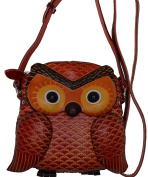 Baby Owl Face and Shape,Genuine Leather CrossBody Bag,Handmade,a Lovely Satchel