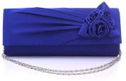 Nodykka Wedding Evening Satin Floral Pleated Party Clutch Bag Cross Body Handbag Purse