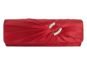 Nodykka Wedding Party Satin Pleated Rhinestone Clutch Bag Cross Body Handbag Purse