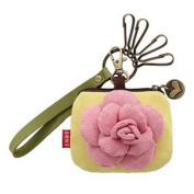 Cute Cartoon Cotton Small Coins Purses Bags Car Keys Wallets, Pink Rose