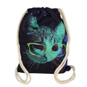 Artone Glasses Cat Canvas Drawstring Bag Travel Daypack Sports Portable Backpack Deep Blue