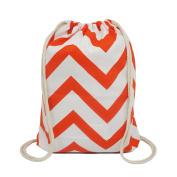 Artone Wave Canvas Drawstring Bag Travel Daypack Sports Portable Backpack Orange